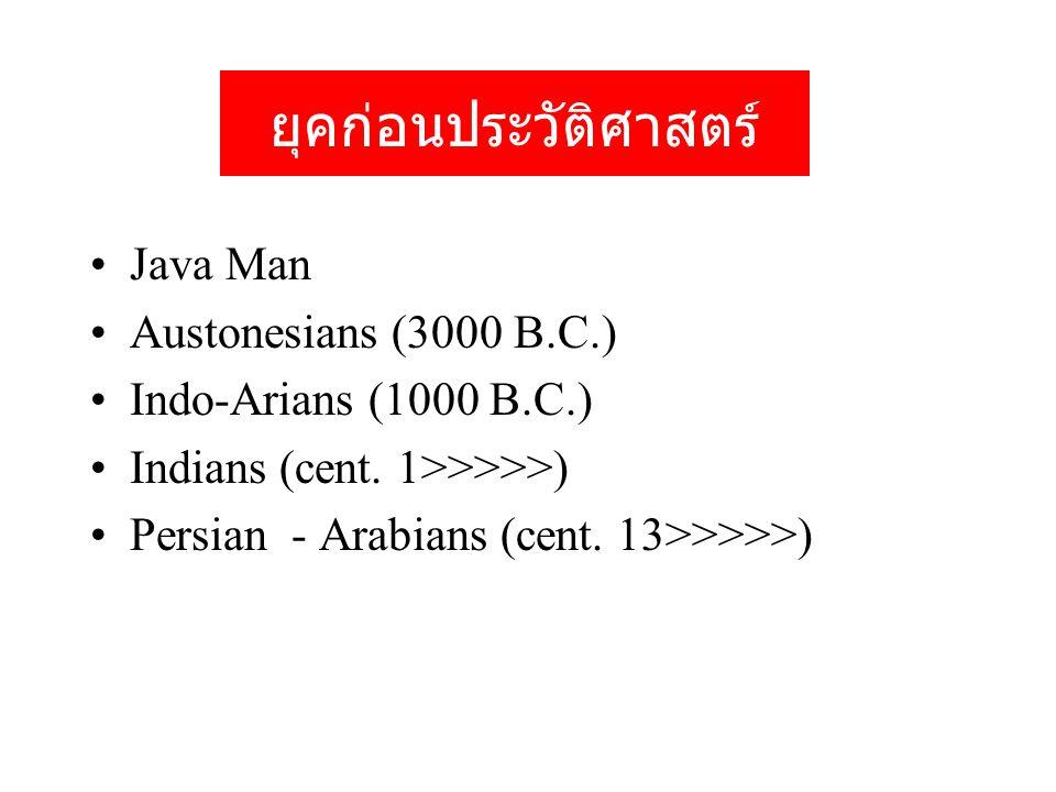 ยุคก่อนประวัติศาสตร์ Java Man Austonesians (3000 B.C.) Indo-Arians (1000 B.C.) Indians (cent.
