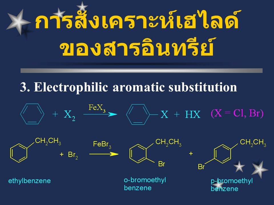 การสังเคราะห์เฮไลด์ ของสารอินทรีย์ 3. Electrophilic aromatic substitution