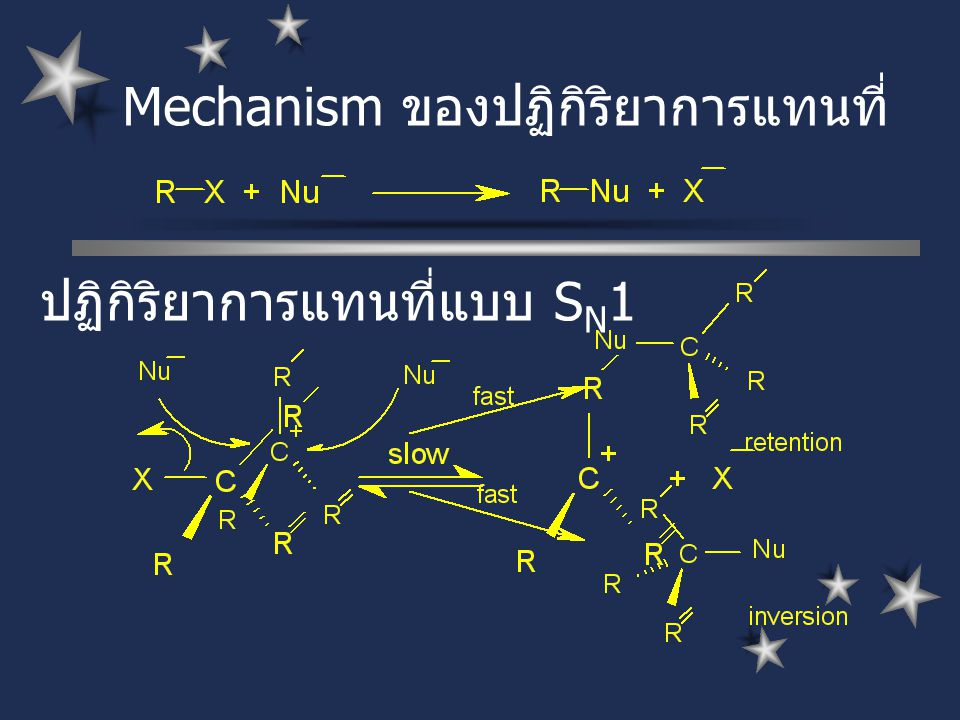 Mechanism ของปฏิกิริยาการแทนที่ ปฏิกิริยาการแทนที่แบบ S N 1