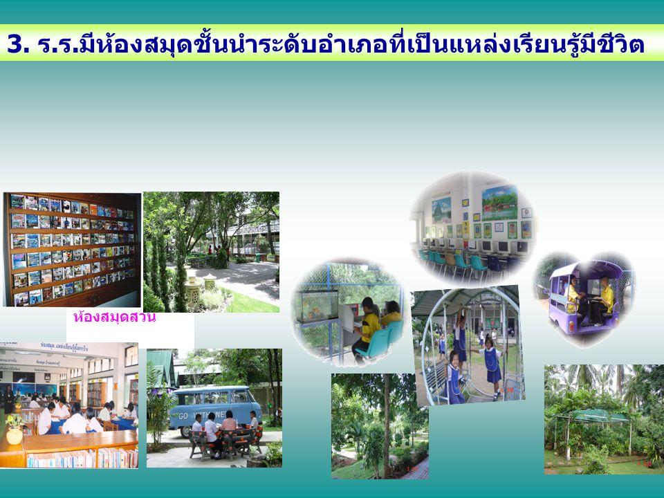 3. ร.ร.มีห้องสมุดชั้นนำระดับอำเภอที่เป็นแหล่งเรียนรู้มีชีวิต ห้องสมุดสวน