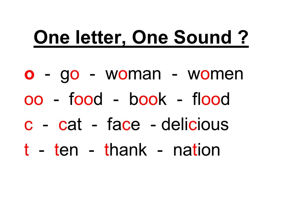 One letter, One Sound .