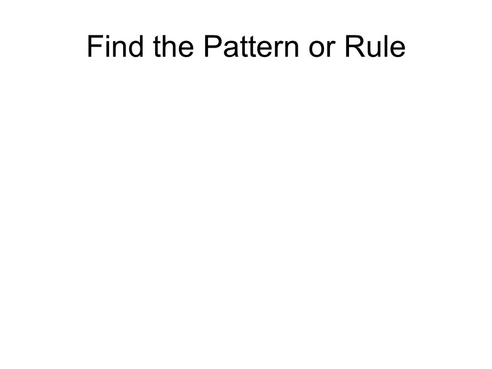 Find the Pattern or Rule