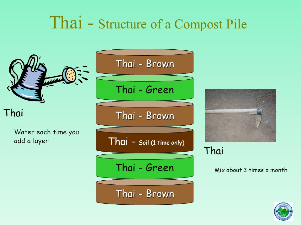 Thai - Structure of a Compost Pile Thai - Brown Thai - Green Thai - Soil (1 time only) Thai - Brown Thai - Green Thai - Brown Thai Water each time you