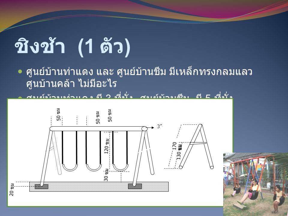 ชิงช้า (1 ตัว ) ศูนย์บ้านท่าแดง และ ศูนย์บ้านชึม มีเหล็กทรงกลมแลว ศูนบ้านคล้า ไม่มีอะไร ศูนย์บ้านท่าแดง มี 3 ที่นั่ง ศูนย์บ้านชึม มี 5 ที่นั่ง 50 ฃม 1