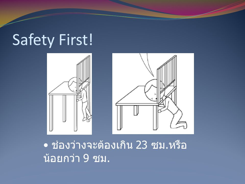 Safety First! ช่องว่างจะต้องเกิน 23 ซม. หรือ น้อยกว่า 9 ซม.