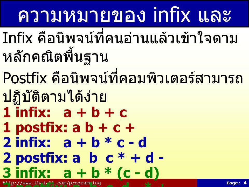 http://www.thaiall.com/programmingPage: 5 ตัวอย่างการแปลง 1 Expression: a + b + c infix Stack postfix 1a a 2+ +a 3b +ab 4+ +ab+ 5c +ab+c 6ab+c+ Source Code : http://www.java2s.com/Code/JavaScript/Development/PostfixtoInfixConversion.htm