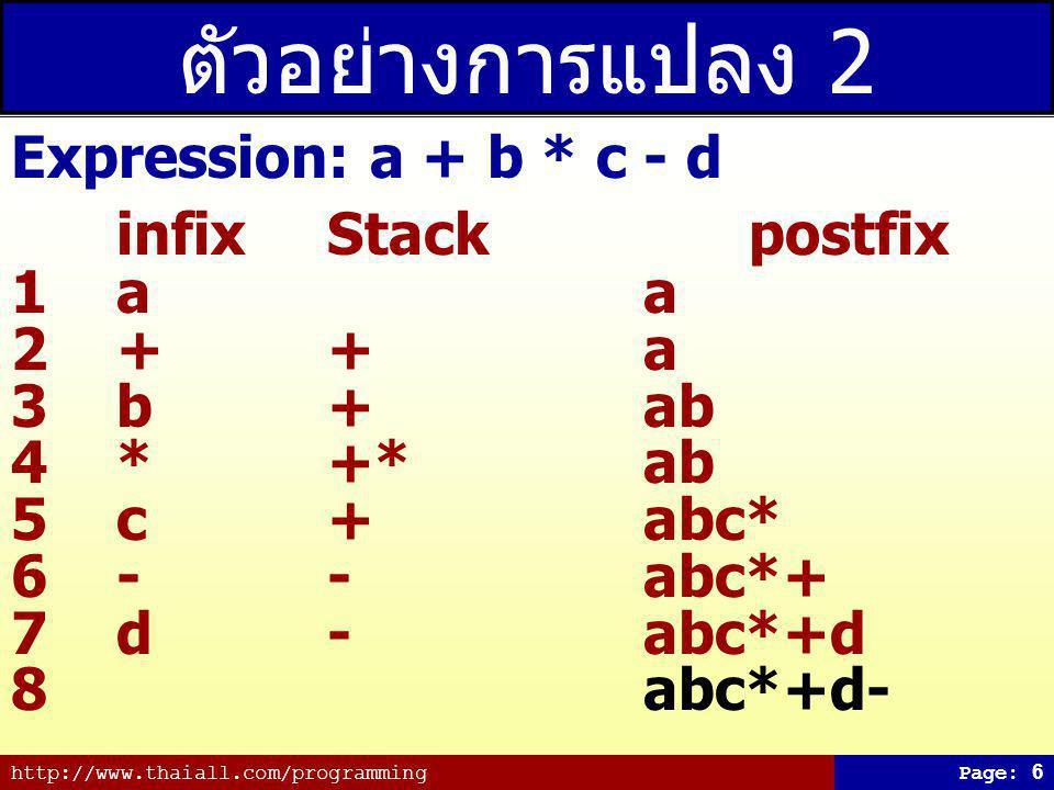 http://www.thaiall.com/programmingPage: 7 ตัวอย่างการแปลง 3 Expression: a + b * (c - d) infix Stackpostfix 1a a 2+ +a 3b +ab 4* +*ab 5(+*(ab 6c +*(abc 7-+*(-abc 8d+*(-abcd 9)+*abcd- 10abcd-*+
