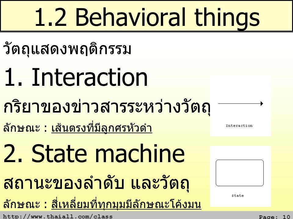 http://www.thaiall.com/class Page: 10 1.2 Behavioral things วัตถุแสดงพฤติกรรม 1. Interaction กริยาของข่าวสารระหว่างวัตถุ ลักษณะ : เส้นตรงที่มีลูกศรหัว