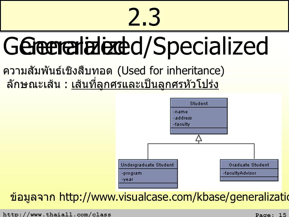 http://www.thaiall.com/class Page: 15 2.3 Generalized/Specialized Generalized ความสัมพันธ์เชิงสืบทอด (Used for inheritance) ลักษณะเส้น : เส้นที่ลูกศรและเป็นลูกศรหัวโปร่ง ข้อมูลจาก http://www.visualcase.com/kbase/generalization.htm