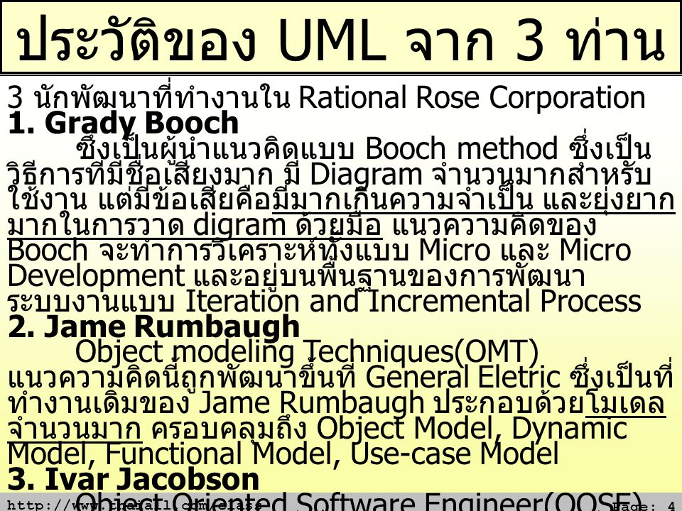 http://www.thaiall.com/class Page: 5 ประโยชน์ของ UML ประโยชน์ของยูเอ็มแอล (UML Advantage) 1.