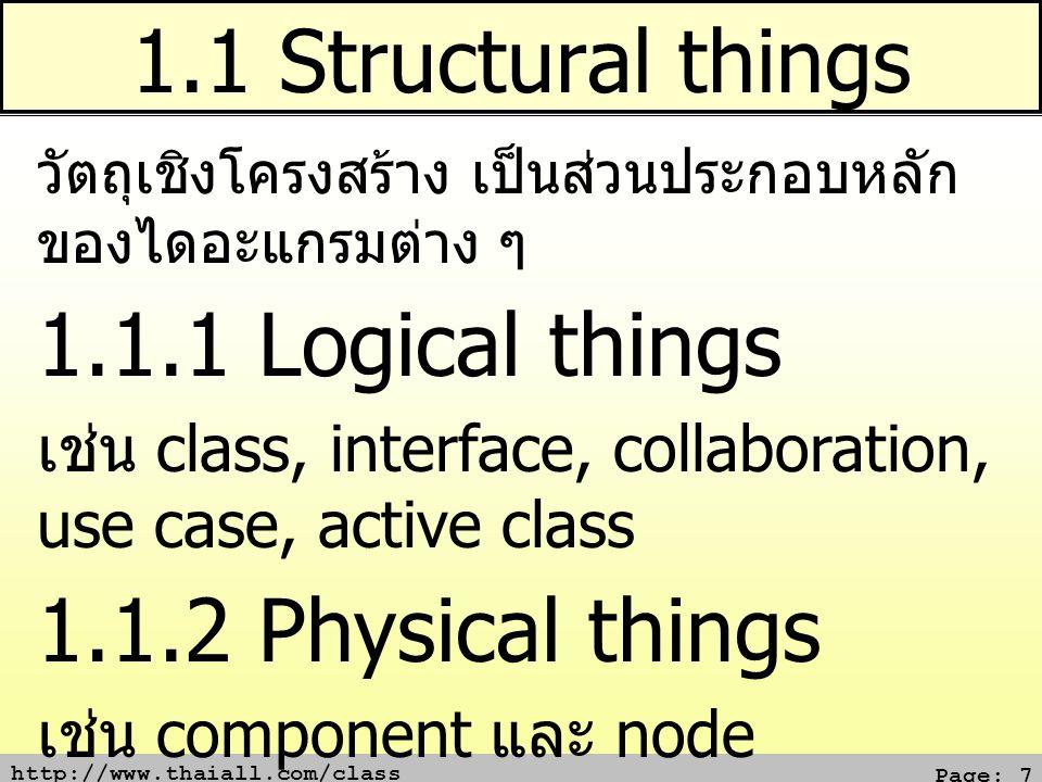http://www.thaiall.com/class Page: 7 1.1 Structural things วัตถุเชิงโครงสร้าง เป็นส่วนประกอบหลัก ของไดอะแกรมต่าง ๆ 1.1.1 Logical things เช่น class, interface, collaboration, use case, active class 1.1.2 Physical things เช่น component และ node