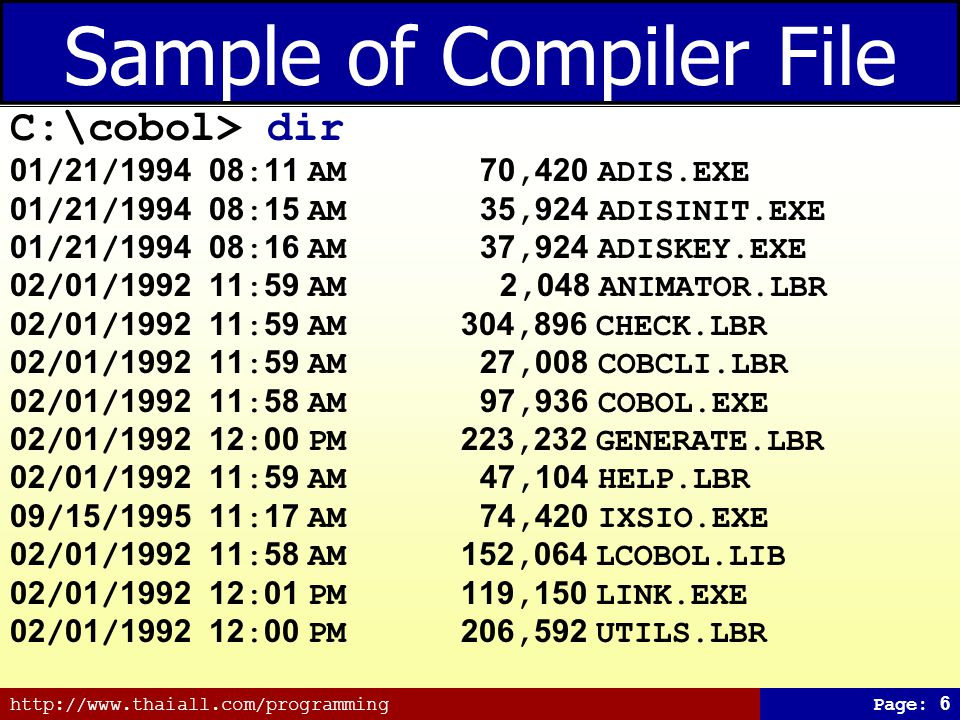 http://www.thaiall.com/programmingPage: 6 Sample of Compiler File C:\cobol> dir 01/21/1994 08:11 AM 70,420 ADIS.EXE 01/21/1994 08:15 AM 35,924 ADISINIT.EXE 01/21/1994 08:16 AM 37,924 ADISKEY.EXE 02/01/1992 11:59 AM 2,048 ANIMATOR.LBR 02/01/1992 11:59 AM 304,896 CHECK.LBR 02/01/1992 11:59 AM 27,008 COBCLI.LBR 02/01/1992 11:58 AM 97,936 COBOL.EXE 02/01/1992 12:00 PM 223,232 GENERATE.LBR 02/01/1992 11:59 AM 47,104 HELP.LBR 09/15/1995 11:17 AM 74,420 IXSIO.EXE 02/01/1992 11:58 AM 152,064 LCOBOL.LIB 02/01/1992 12:01 PM 119,150 LINK.EXE 02/01/1992 12:00 PM 206,592 UTILS.LBR