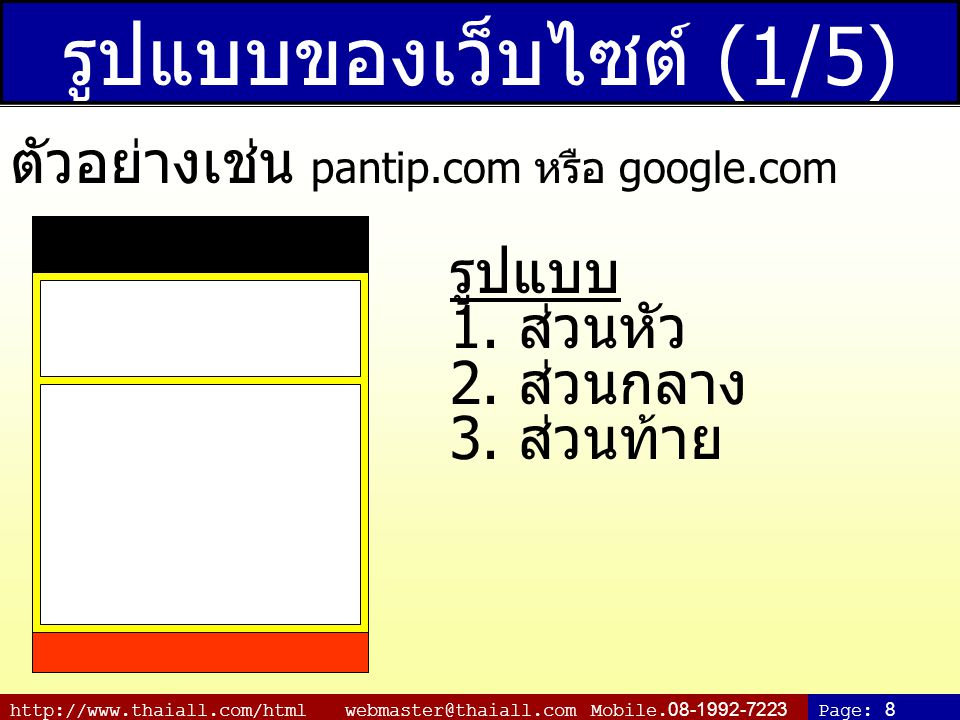 http://www.thaiall.com/html webmaster@thaiall.com Mobile.08-1992-7223Page: 19 แนะนำเว็บไซต์ http://www.wikipedia.org http://www.gotoknow.org http://www.google.com http://www.truehits.net http://www.thaiall.com http://www.thainame.net http://www.thaiabc.com