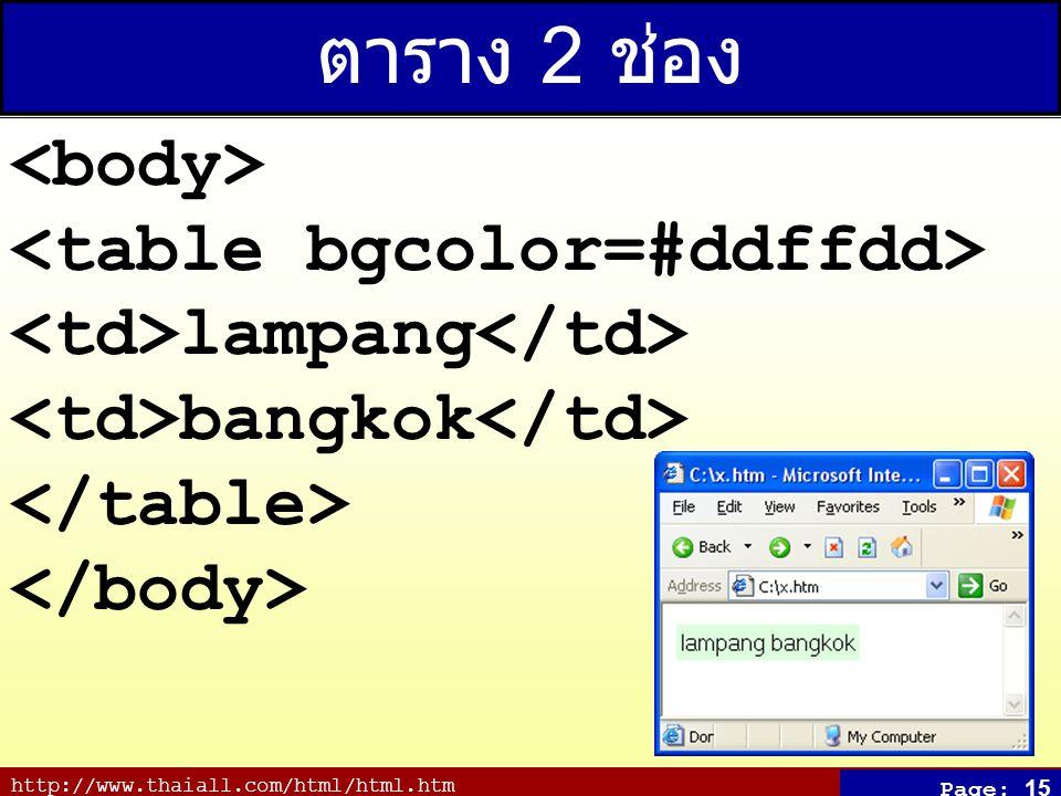 http://www.thaiall.com/html/html.htm Page: 15 ตาราง 2 ช่อง lampang bangkok