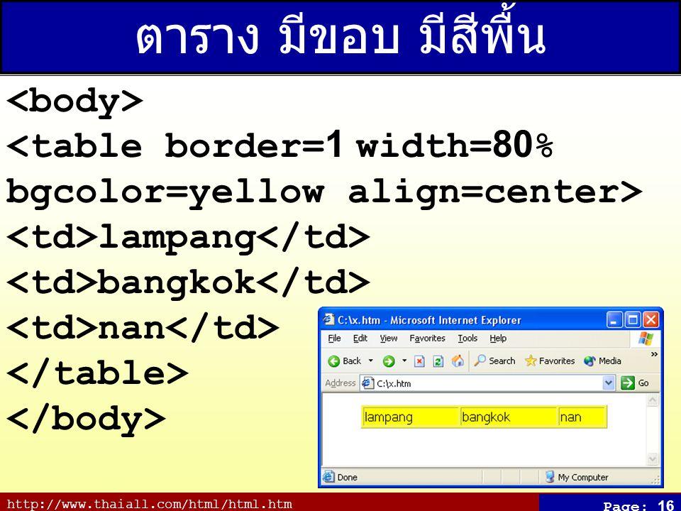 http://www.thaiall.com/html/html.htm Page: 16 ตาราง มีขอบ มีสีพื้น lampang bangkok nan