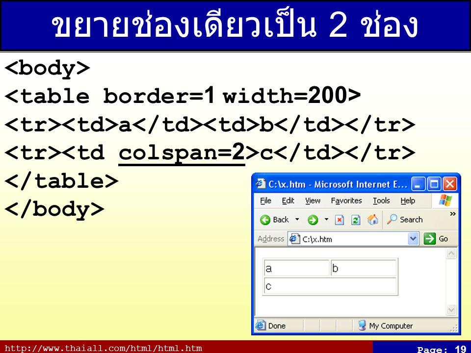 http://www.thaiall.com/html/html.htm Page: 19 ขยายช่องเดียวเป็น 2 ช่อง a b c