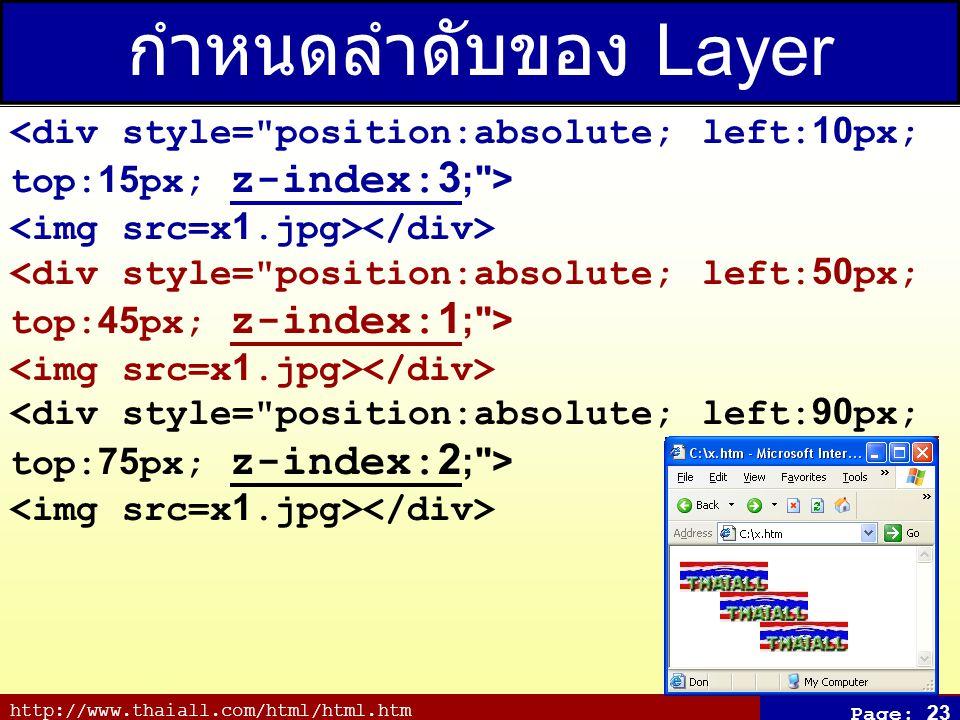 http://www.thaiall.com/html/html.htm Page: 23 กำหนดลำดับของ Layer