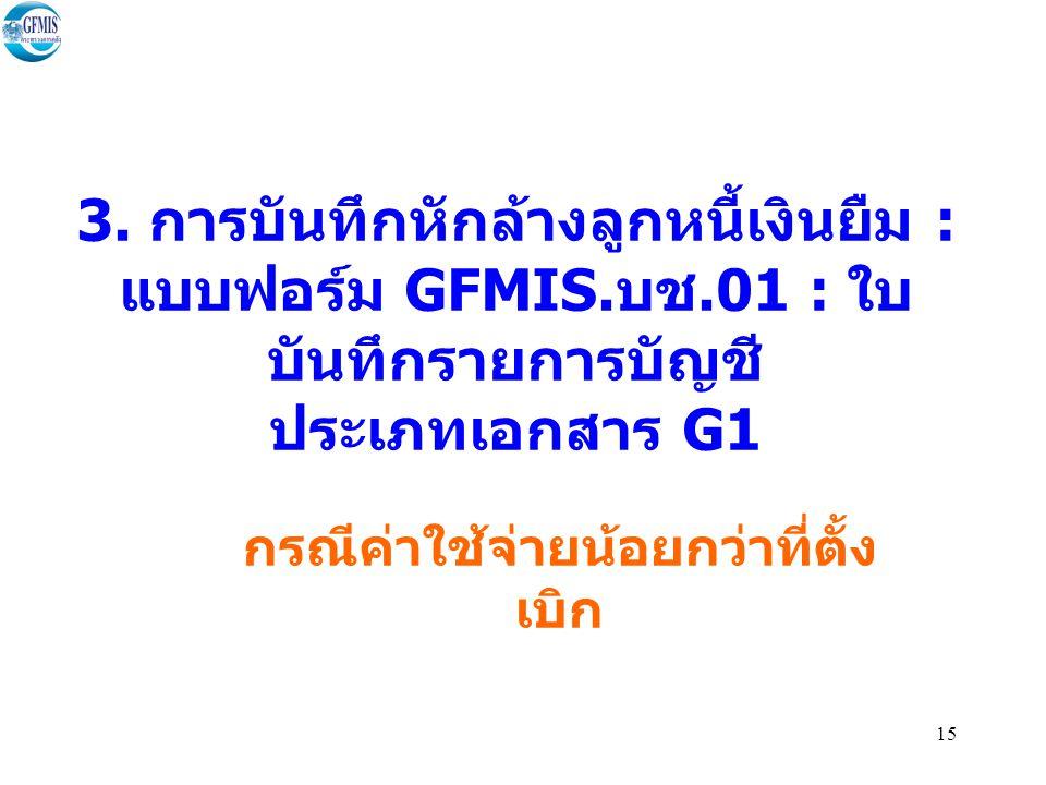 15 3.การบันทึกหักล้างลูกหนี้เงินยืม : แบบฟอร์ม GFMIS.