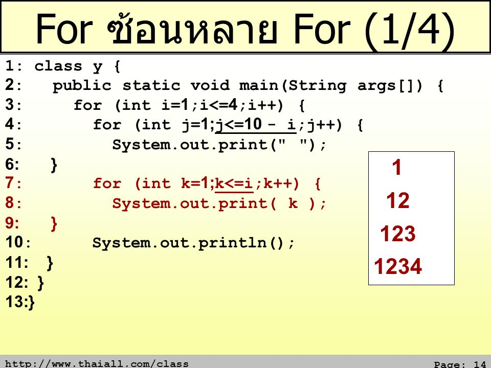 http://www.thaiall.com/class Page: 14 For ซ้อนหลาย For (1/4) 1: class y { 2: public static void main(String args[]) { 3: for (int i=1;i<=4;i++) { 4: for (int j=1;j<=10 - i;j++) { 5: System.out.print( ); 6: } 7: for (int k=1;k<=i;k++) { 8: System.out.print( k ); 9: } 10: System.out.println(); 11: } 12: } 13:} 1 12 123 1234