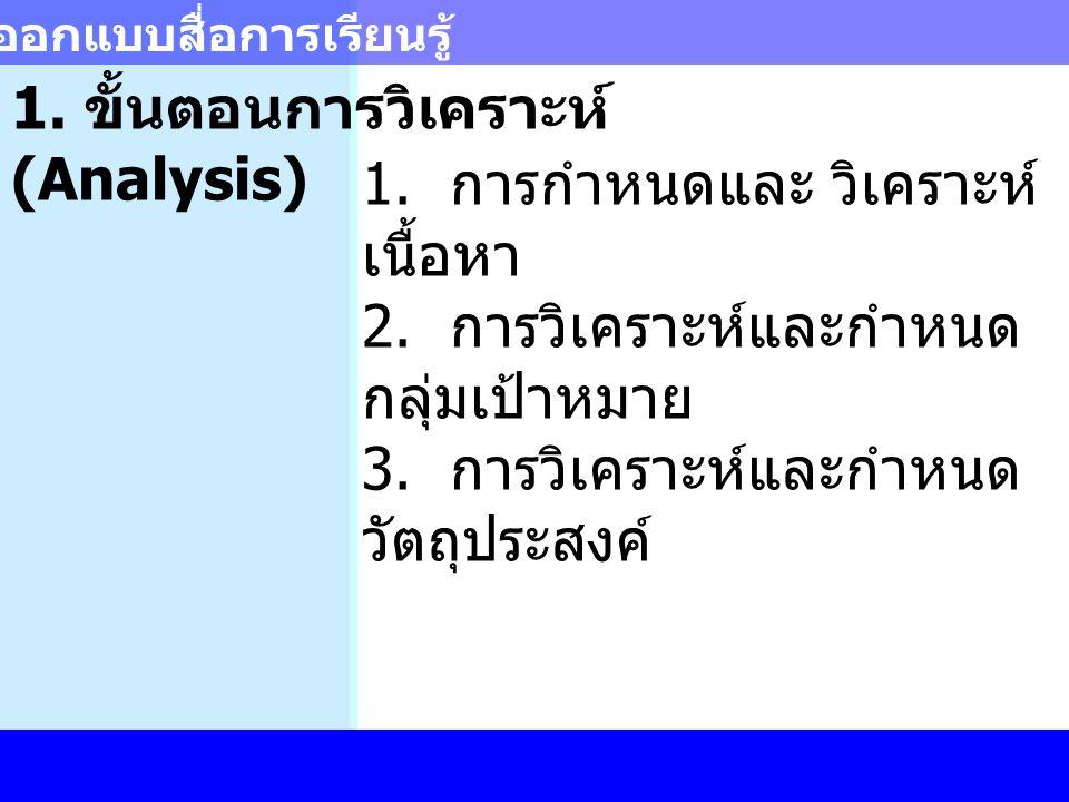 การออกแบบสื่อการเรียนรู้ 1. ขั้นตอนการวิเคราะห์ (Analysis) 1. การกำหนดและ วิเคราะห์ เนื้อหา 2. การวิเคราะห์และกำหนด กลุ่มเป้าหมาย 3. การวิเคราะห์และกำ