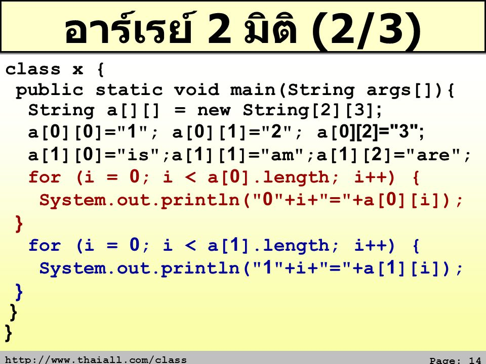 http://www.thaiall.com/class Page: 14 อาร์เรย์ 2 มิติ (2/3) class x { public static void main(String args[]){ String a[][] = new String[2][3]; a[0][0]