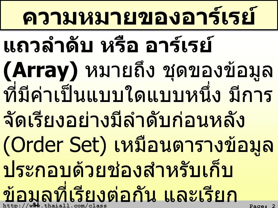 http://www.thaiall.com/class Page: 2 ความหมายของอาร์เรย์ แถวลำดับ หรือ อาร์เรย์ (Array) หมายถึง ชุดของข้อมูล ที่มีค่าเป็นแบบใดแบบหนึ่ง มีการ จัดเรียงอ