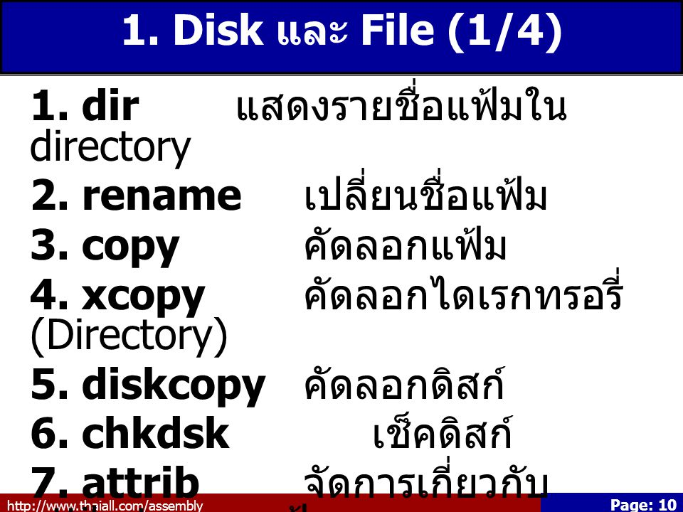 http://www.thaiall.com/assembly Page: 10 1.Disk และ File (1/4) 1.