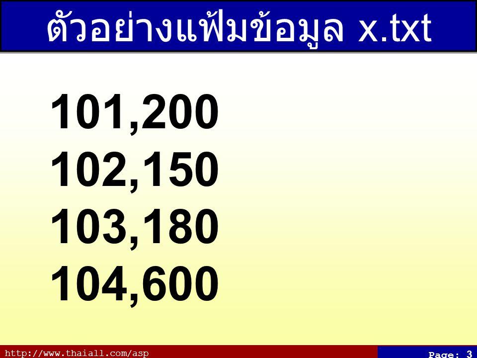 http://www.thaiall.com/asp Page: 3 ตัวอย่างแฟ้มข้อมูล x.txt 101,200 102,150 103,180 104,600