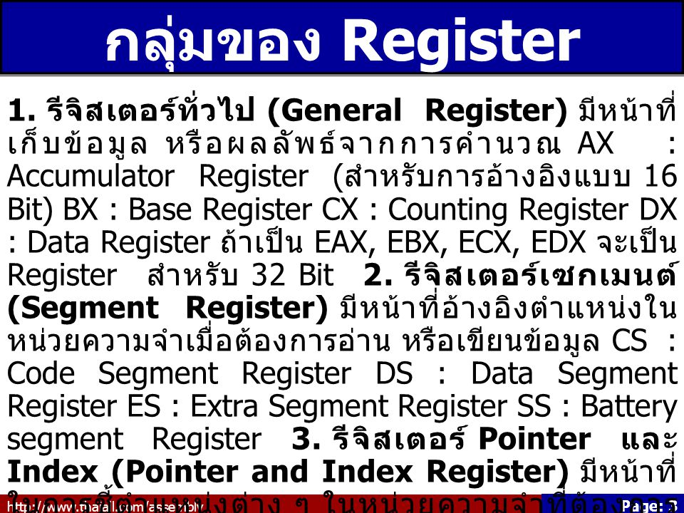 http://www.thaiall.com/assembly Page: 4 ASCII คืออะไร ASCII - The American Standard Code for Information Interchange is a standard seven-bit code that was proposed by ANSI in 1963, and finalized in 1968.