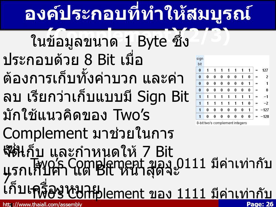 http://www.thaiall.com/assembly Page: 26 องค์ประกอบที่ทำให้สมบูรณ์ (Complement)(2/3) ในข้อมูลขนาด 1 Byte ซึ่ง ประกอบด้วย 8 Bit เมื่อ ต้องการเก็บทั้งค่าบวก และค่า ลบ เรียกว่าเก็บแบบมี Sign Bit มักใช้แนวคิดของ Two's Complement มาช่วยในการ จัดเก็บ และกำหนดให้ 7 Bit แรกเก็บค่า แต่ Bit หน้าสุดจะ เก็บเครื่องหมาย เช่น Two's Complement ของ 0111 มีค่าเท่ากับ 7 Two's Complement ของ 1111 มีค่าเท่ากับ -1 7 - 1 = 6 หรือ 0111 - (1111) = 0111 - (0001) = 0110 = 6