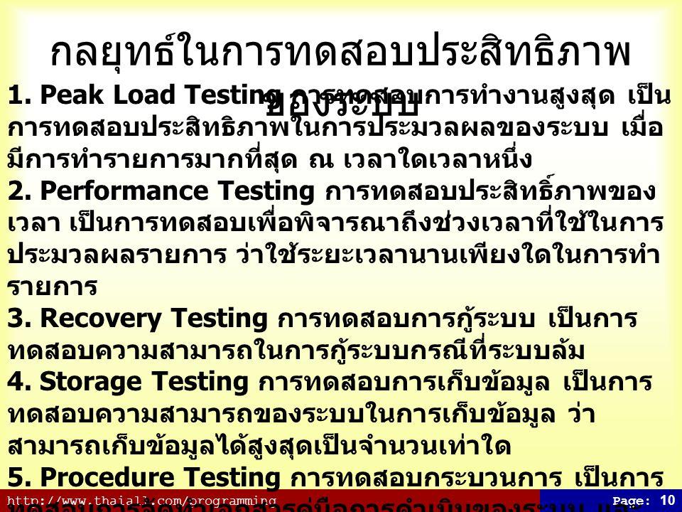 http://www.thaiall.com/programmingPage: 10 กลยุทธ์ในการทดสอบประสิทธิภาพ ของระบบ 1. Peak Load Testing การทดสอบการทำงานสูงสุด เป็น การทดสอบประสิทธิภาพใน