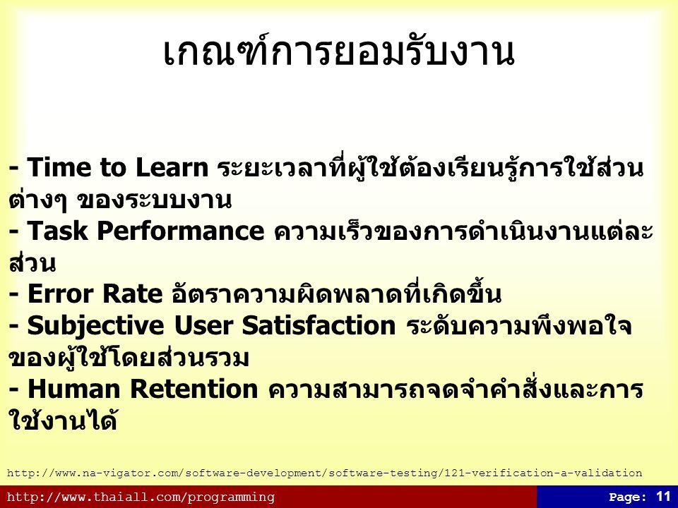 http://www.thaiall.com/programmingPage: 11 เกณฑ์การยอมรับงาน - Time to Learn ระยะเวลาที่ผู้ใช้ต้องเรียนรู้การใช้ส่วน ต่างๆ ของระบบงาน - Task Performan