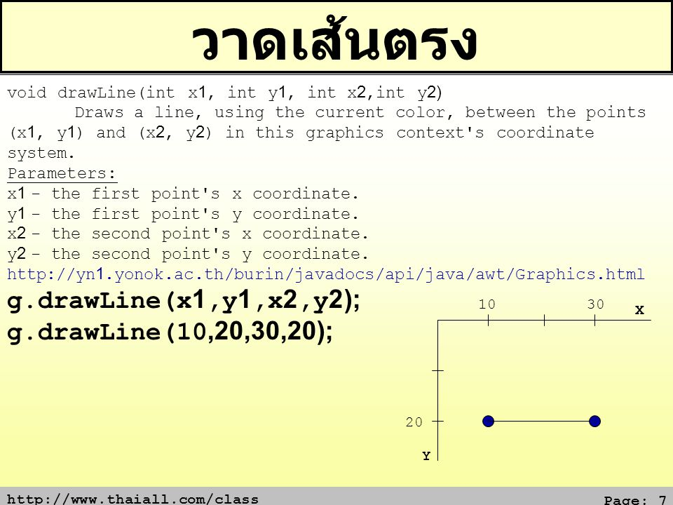 http://www.thaiall.com/class Page: 7 วาดเส้นตรง 20 10 Y X void drawLine(int x1, int y1, int x2,int y2) Draws a line, using the current color, between