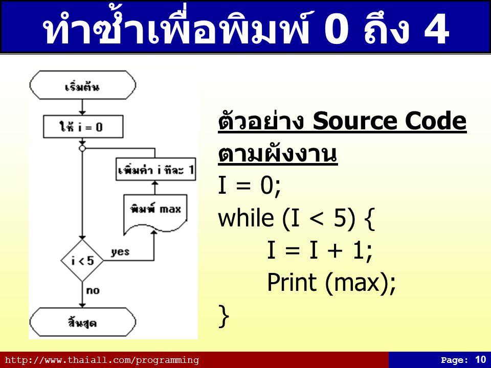http://www.thaiall.com/programmingPage: 10 ทำซ้ำเพื่อพิมพ์ 0 ถึง 4 ตัวอย่าง Source Code ตามผังงาน I = 0; while (I < 5) { I = I + 1; Print (max); }
