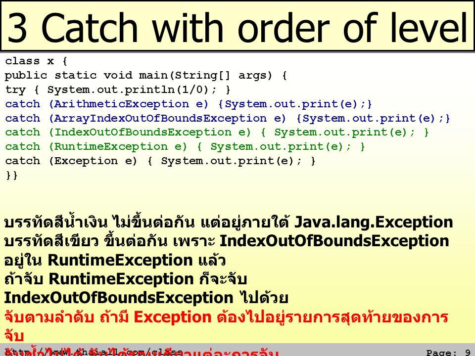 http://www.thaiall.com/class Page: 10 ระดับการตรวจจับของ Exception สายหนึ่ง http://docs.oracle.com/javase/1.4.2/docs/api/java/lang/ArrayIndex OutOfBoundsException.html