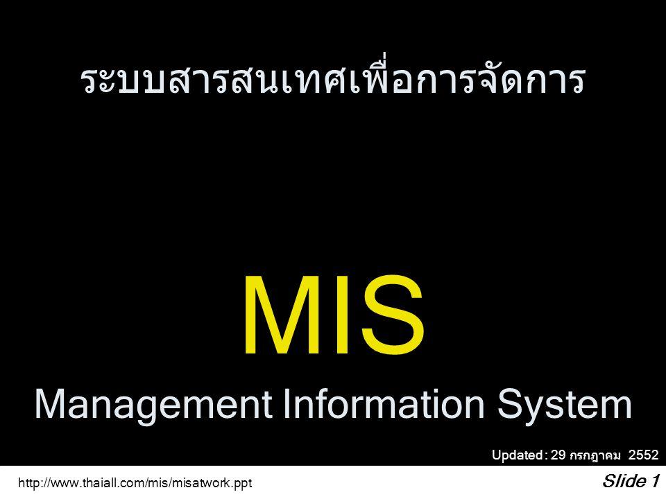 http://www.thaiall.com/mis/misatwork.ppt Slide 2 ข้อมูล => ที่ถูกประมวลผลจะได้ => สารสนเทศ ผู้บริหาร => การตัดสินใจ DATA => PROCESS => INFORMATION Executive => Decision คำถามที่ชวนเรียนรู้ว่า ข้อมูล ประมวลผล และสารสนเทศ คืออะไร ท่านเกี่ยวข้องกับเรื่องใด อย่างไร นิยาม 1 ความสัมพันธ์ของข้อมูลและ สารสนเทศ