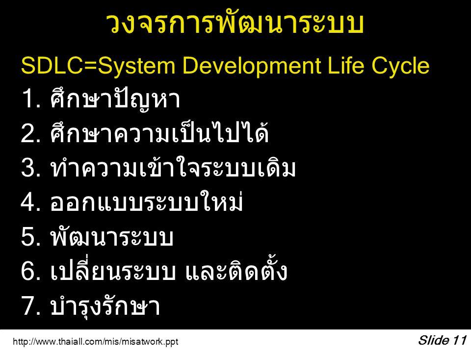 http://www.thaiall.com/mis/misatwork.ppt Slide 11 วงจรการพัฒนาระบบ SDLC=System Development Life Cycle 1. ศึกษาปัญหา 2. ศึกษาความเป็นไปได้ 3. ทำความเข้