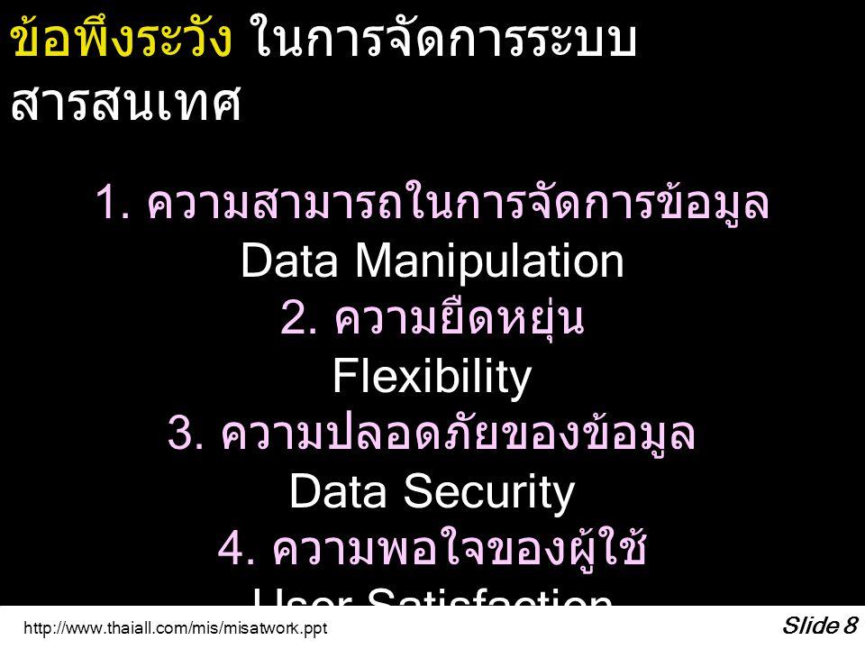 http://www.thaiall.com/mis/misatwork.ppt Slide 8 ข้อพึงระวัง ในการจัดการระบบ สารสนเทศ 1. ความสามารถในการจัดการข้อมูล Data Manipulation 2. ความยืดหยุ่น