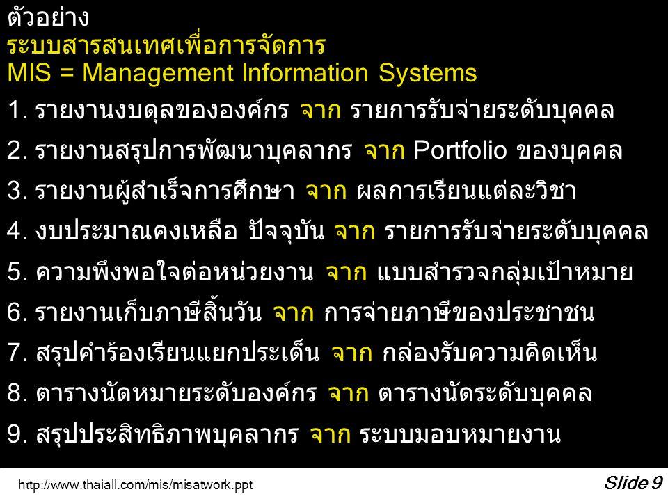 http://www.thaiall.com/mis/misatwork.ppt Slide 9 ตัวอย่าง ระบบสารสนเทศเพื่อการจัดการ MIS = Management Information Systems 1. รายงานงบดุลขององค์กร จาก