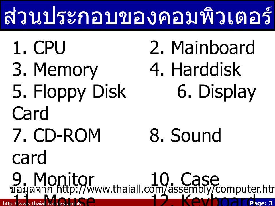 http://www.thaiall.com/assembly Page: 14 CD-ROM Compact Disc Read Only Memory สำหรับ 650 MB ถึง 700 MB ใช้หลักการสะท้อนแสง ข้อมูลจาก http://www.answers.com/topic/cd-rom