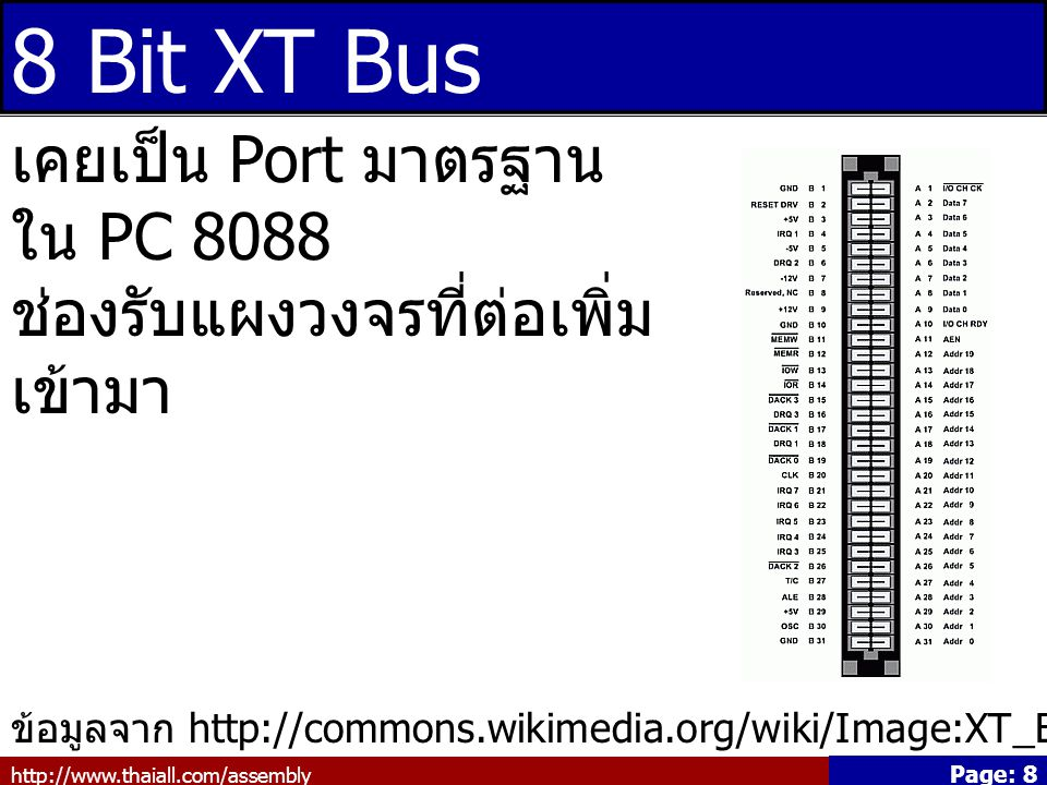 http://www.thaiall.com/assembly Page: 8 8 Bit XT Bus ข้อมูลจาก http://commons.wikimedia.org/wiki/Image:XT_Bus_pins.png เคยเป็น Port มาตรฐาน ใน PC 8088