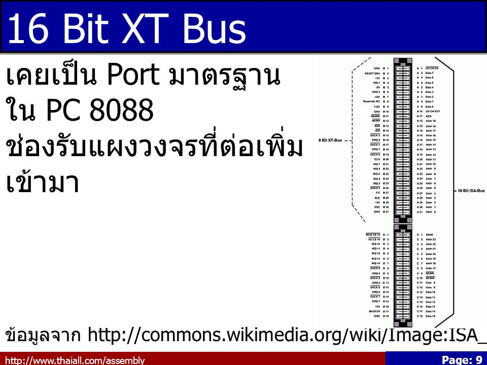http://www.thaiall.com/assembly Page: 9 16 Bit XT Bus ข้อมูลจาก http://commons.wikimedia.org/wiki/Image:ISA_Bus_pins.png เคยเป็น Port มาตรฐาน ใน PC 80