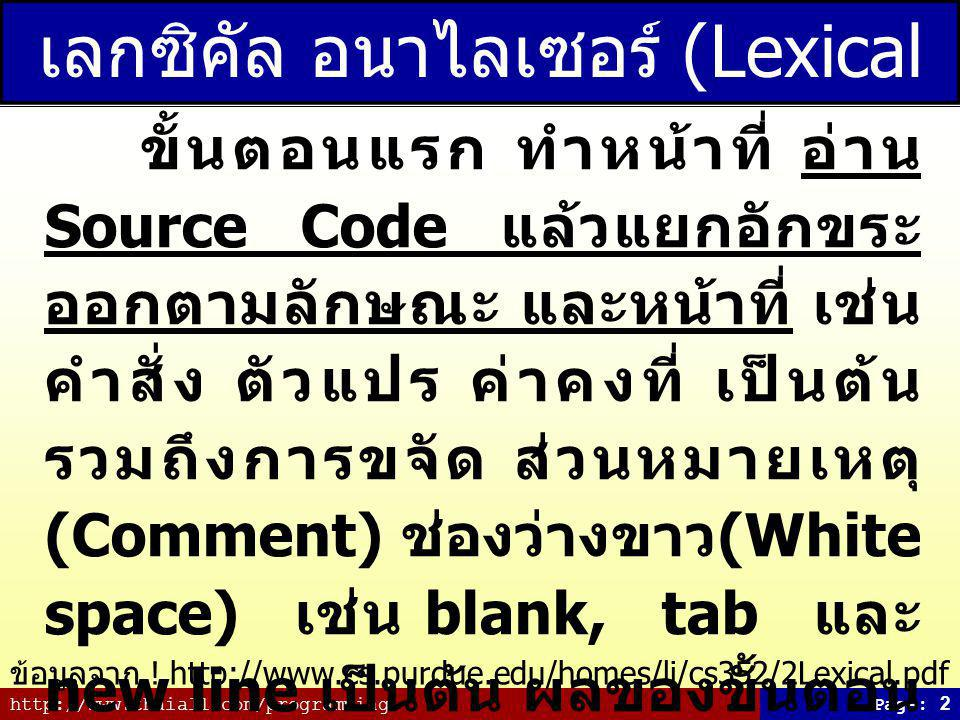 http://www.thaiall.com/programmingPage: 2 เลกซิคัล อนาไลเซอร์ (Lexical Analyzer) ขั้นตอนแรก ทำหน้าที่ อ่าน Source Code แล้วแยกอักขระ ออกตามลักษณะ และหน้าที่ เช่น คำสั่ง ตัวแปร ค่าคงที่ เป็นต้น รวมถึงการขจัด ส่วนหมายเหตุ (Comment) ช่องว่างขาว (White space) เช่น blank, tab และ new line เป็นต้น ผลของขั้นตอน นี้จะแยกทุกสิ่งที่ควรแยกออกจาก กัน เพื่อนำไปตรวจสอบในขั้น ต่อไป ข้อมูลจาก .