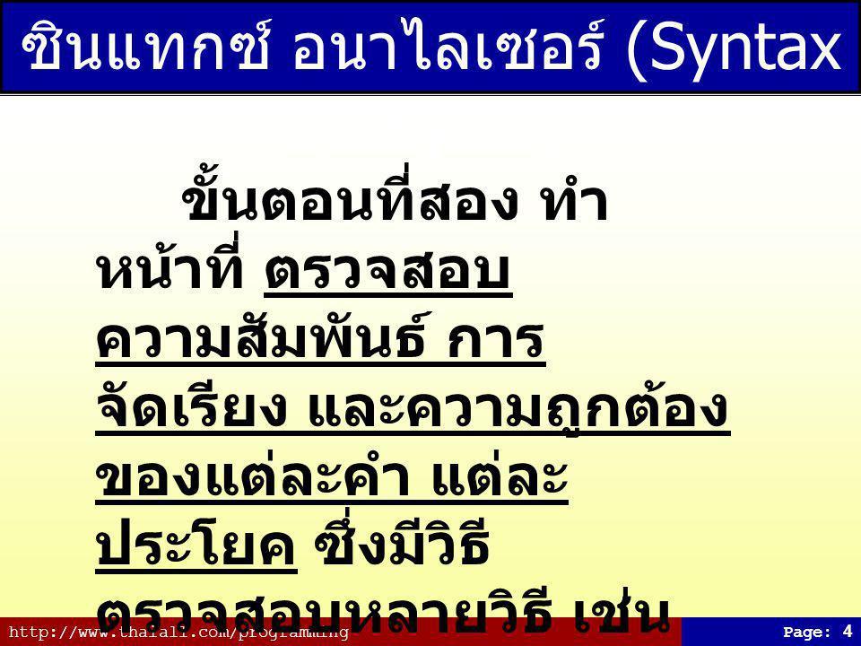 http://www.thaiall.com/programmingPage: 4 ซินแทกซ์ อนาไลเซอร์ (Syntax Analyzer) ขั้นตอนที่สอง ทำ หน้าที่ ตรวจสอบ ความสัมพันธ์ การ จัดเรียง และความถูกต้อง ของแต่ละคำ แต่ละ ประโยค ซึ่งมีวิธี ตรวจสอบหลายวิธี เช่น ตรวจสอบ parse tree ว่า มีไวยากรณ์ถูกต้องตามที่ กำหนดไว้หรือไม่