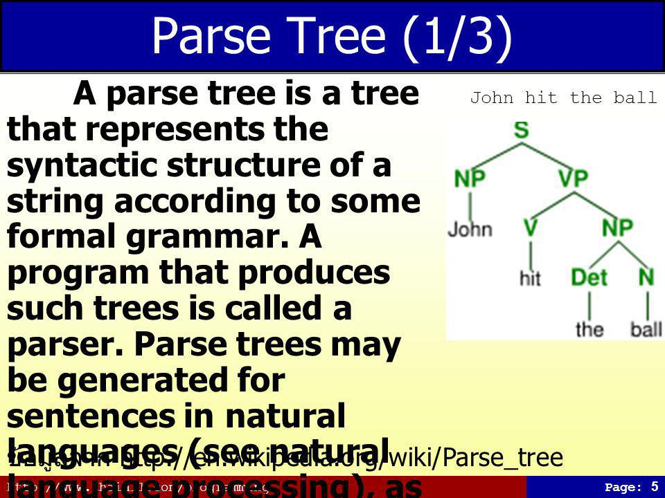 http://www.thaiall.com/programmingPage: 5 Parse Tree (1/3) A parse tree is a tree that represents the syntactic structure of a string according to some formal grammar.