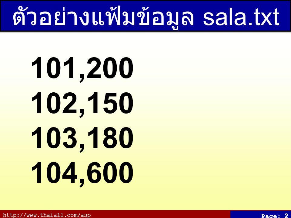 http://www.thaiall.com/asp Page: 2 ตัวอย่างแฟ้มข้อมูล sala.txt 101,200 102,150 103,180 104,600