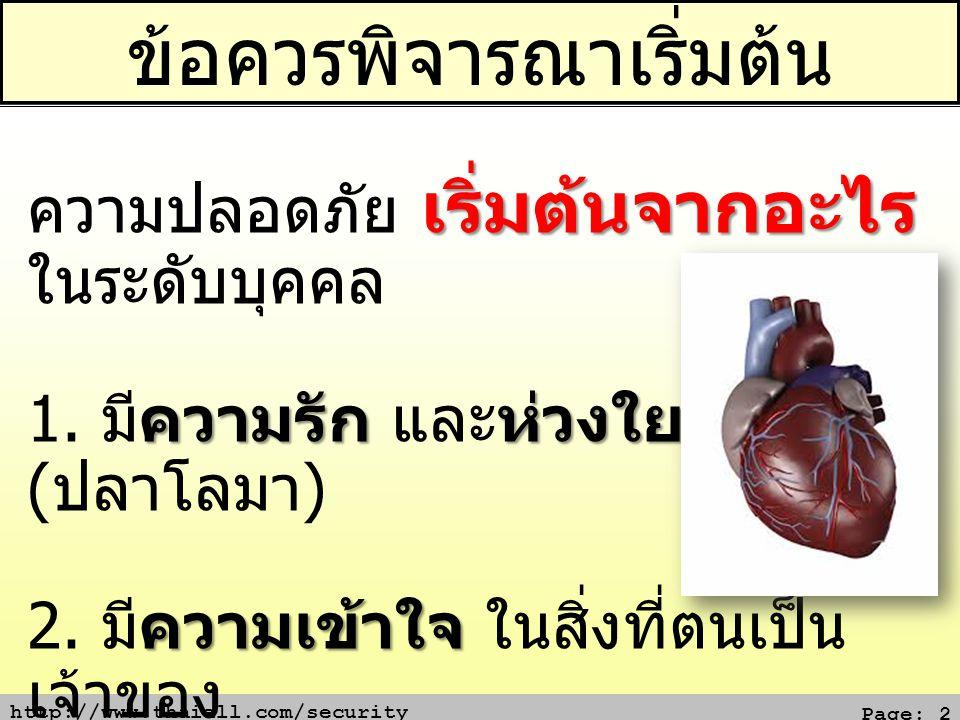 http://www.thaiall.com/security Page: 2 ข้อควรพิจารณาเริ่มต้น เริ่มต้นจากอะไร ความปลอดภัย เริ่มต้นจากอะไร ในระดับบุคคล ความรัก ห่วงใย 1. มีความรัก และ