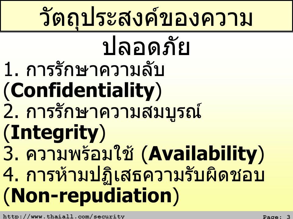 http://www.thaiall.com/security Page: 3 วัตถุประสงค์ของความ ปลอดภัย 1. การรักษาความลับ (Confidentiality) 2. การรักษาความสมบูรณ์ (Integrity) 3. ความพร้