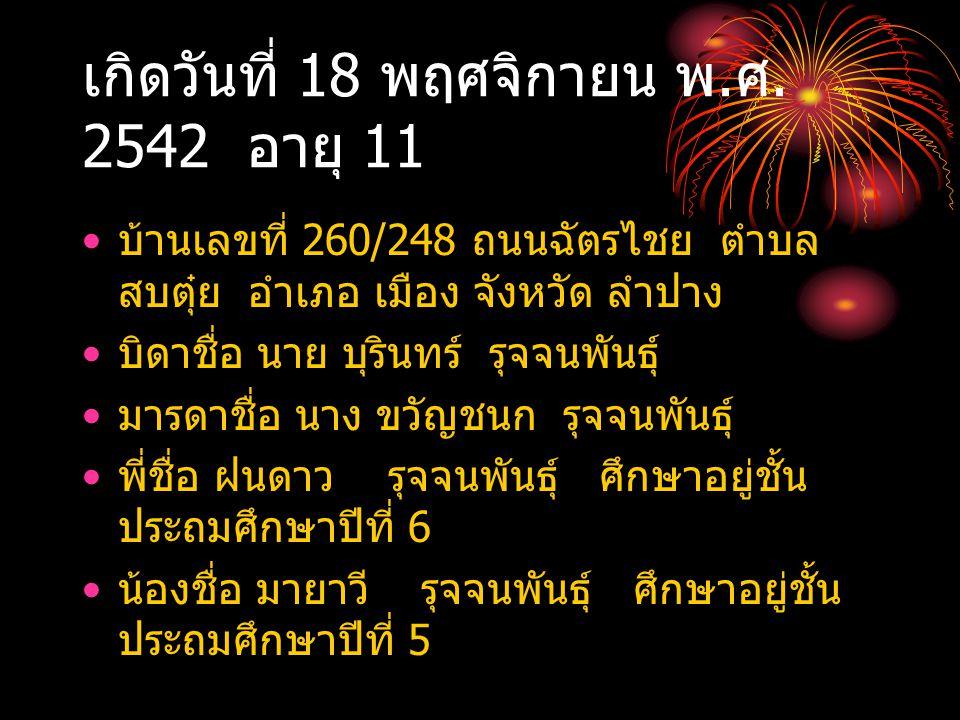 เกิดวันที่ 18 พฤศจิกายน พ. ศ. 2542 อายุ 11 บ้านเลขที่ 260/248 ถนนฉัตรไชย ตำบล สบตุ๋ย อำเภอ เมือง จังหวัด ลำปาง บิดาชื่อ นาย บุรินทร์ รุจจนพันธุ์ มารดา