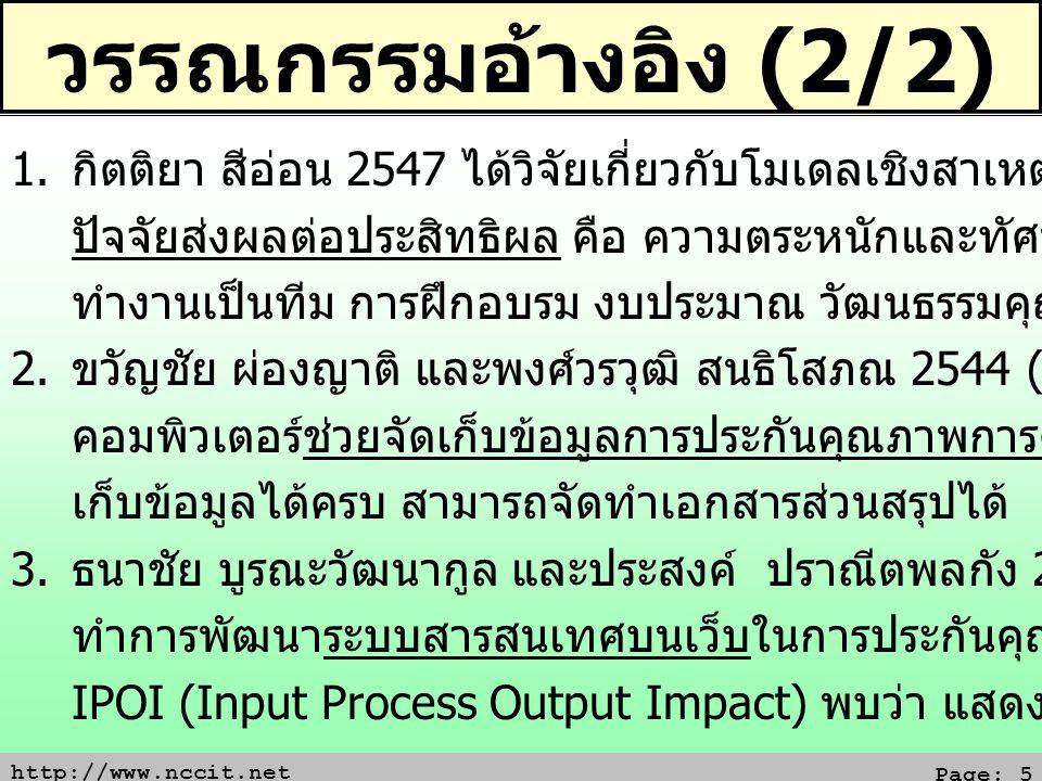 http://www.nccit.net Page: 5 วรรณกรรมอ้างอิง (2/2) 1. กิตติยา สีอ่อน 2547 ได้วิจัยเกี่ยวกับโมเดลเชิงสาเหตุประสิทธิผล พบว่า ปัจจัยส่งผลต่อประสิทธิผล คื